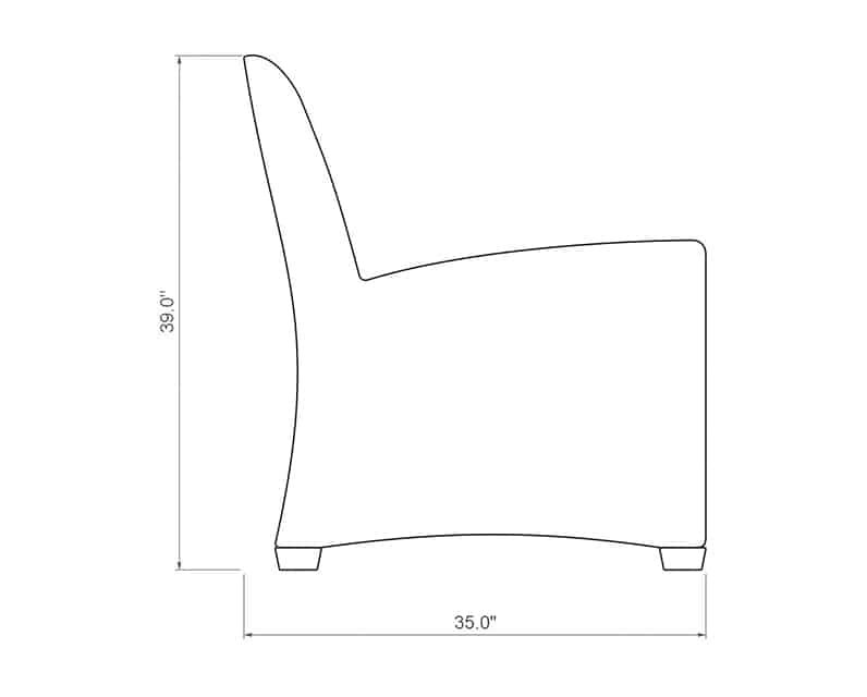 Ventana QDF Loveseat | Side Product Dimensions | Paddy O' Furniture