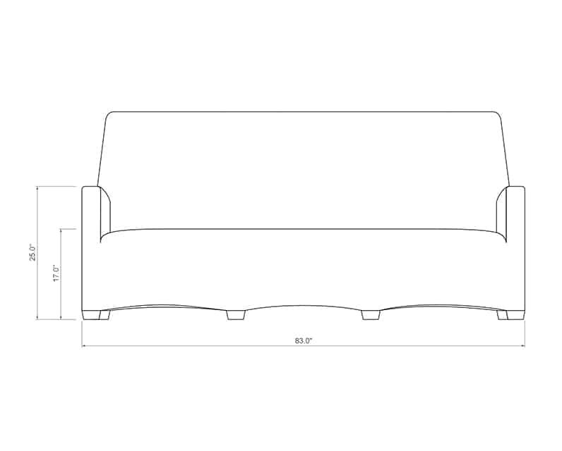 Ventana QDF Sofa | Front Product Dimensions | Paddy O' Furniture