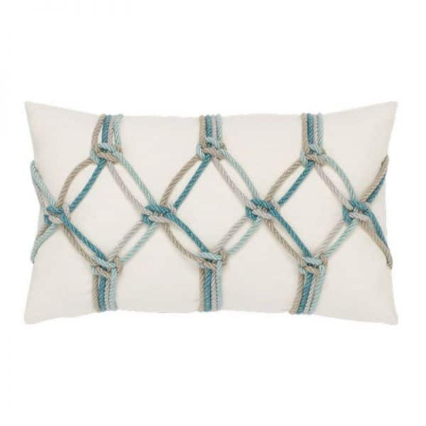 "12"" X 20"" Lumbar Pillow with Aqua Rope Fabric"