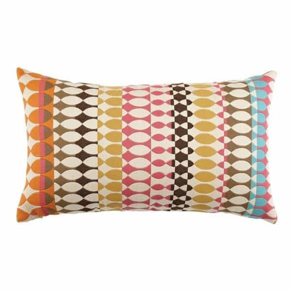 "12"" X 20"" Lumbar Pillow with Modern Oval Candy Fabric"
