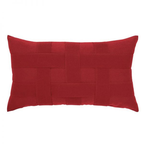 "12"" X 20"" Lumbar Pillow with Basketweave Red Fabric"