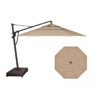 13' Easy Tilt-Lift Cantilever (Black Frame) | Heather Beige Sunbrella Fabric | Shop Umbrellas | Paddy O' Furniture