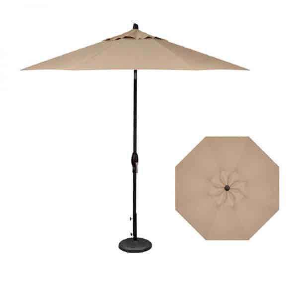 9' Deluxe Auto Tilt (Black Frame) | Heather Beige Sunbrella Fabric | Shop Umbrellas | Paddy O' Furniture