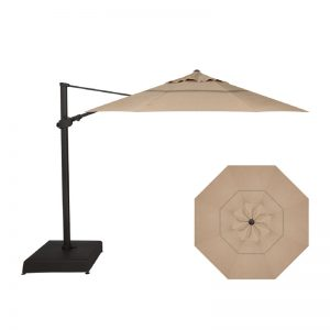 11' Easy Tilt-Lift Cantilever (Black Frame) | Heather Beige Sunbrella Fabric | Shop Umbrellas | Paddy O' Furniture
