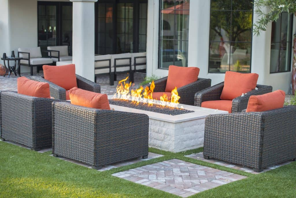 propane fire pit on patio